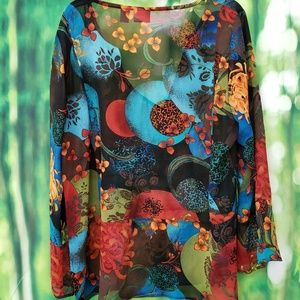 Chico's sheer top GORGEOUS colors sz 2